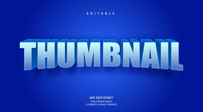 3D Blue Thumbnail Channel Text Effect Editable Premium Vector