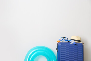 Packed luggage on light background. Travel concept