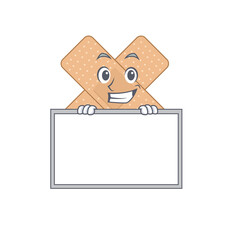 Wall Mural - Funny cartoon design style cross bandage standing behind a board