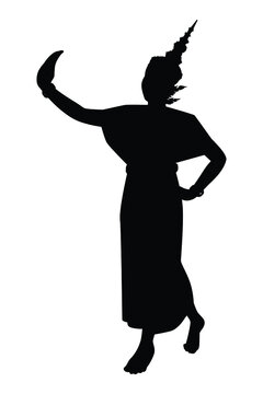Vector silhouette of a thai culture dancing woman. Isolated vector on white background.
