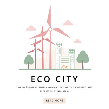 Green city, ctyscape with solar panels and wind turbines, vector illustration.