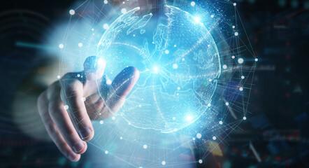 Businessman hand using Europe map globe network hologram 3D rendering