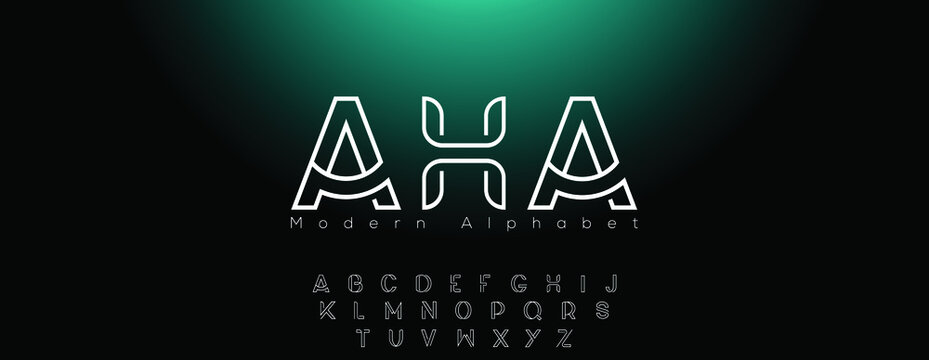 Abstract minimal modern alphabet line font. Minimal slim typography monogram fonts style. Vector illustration and tech font.