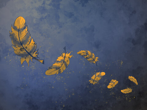 autumn feather or leaves - wallpaper with dark blue background.