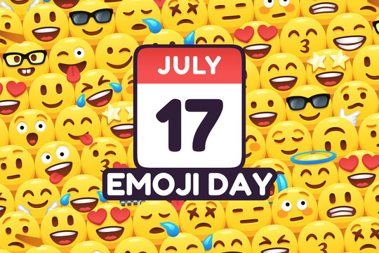 Happy Emoji Day 17 July, calendar icon on funny yellow emoticon faces background vector celebration poster illustration