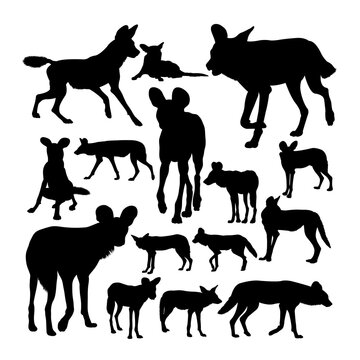 Lycaon african wild dog silhouettes. Good use for symbol, logo, mascot, sign, or any design you want.