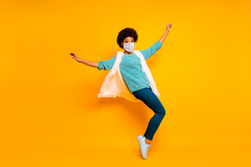 Foto op Canvas Dance School Full length body size view of her she nice wavy-haired girl enjoy jumping having fun wearing safety mask dancing stop mers cov prevention healthy life isolated bright color background