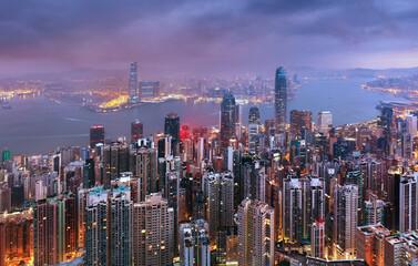 Fotomurales - Hong Kong skyline at night from Victoria peak