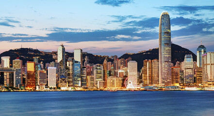 Fotomurales - Night and Skyline of Urban Architecture in Hong Kong