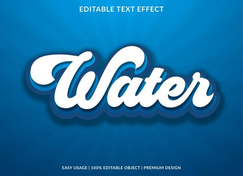 water text effect template with 3d style and retro font concept use for brand label and logotype sticker
