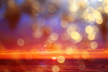 Photo sur Plexiglas Saumon abstract sunset on the lake, landscape water and sky, blurred view freedom nature concept