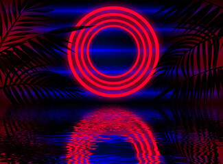 Neon dark background, bright light, reflection in the water. Light neon effect, energy waves on a dark abstract background. Laser colorful neon show.