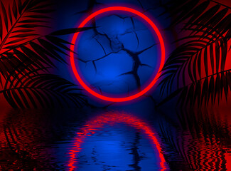 Fotomurales - Neon dark background, bright light, reflection in the water. Light neon effect, energy waves on a dark abstract background. Laser colorful neon show.