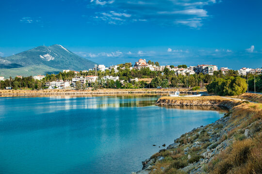 Panoramic view at Kahlkis city  on island Evia ,  Greece.