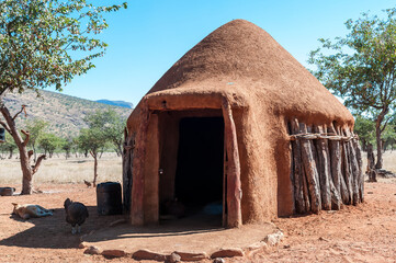 Traditional hut in a Himba village near Epupa