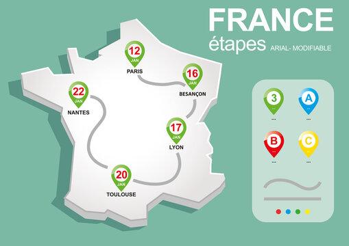 FRANCE carte étapes, route navigation, illlustration vectorielle