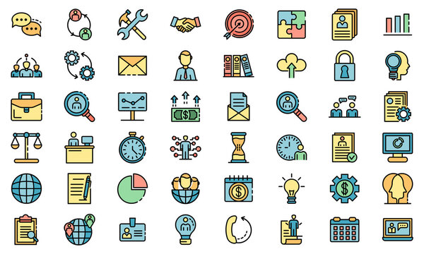 Administrator icons set. Outline set of administrator vector icons thin line color flat on white