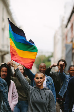 Supporters and members of LGBTQI community in a gay pride parade