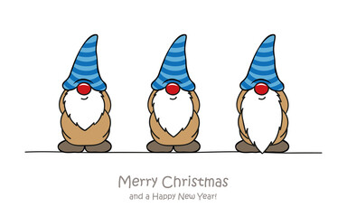 merry christmas greeting card with cute funny dwarf vector illustration EPS10