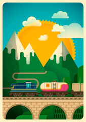 Freight train in the mountain. Vector illustration.