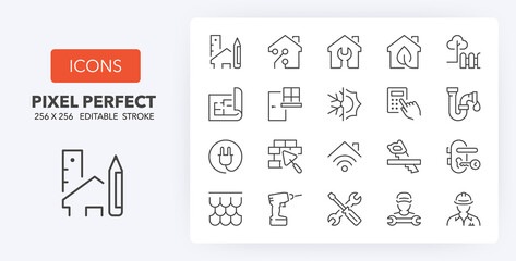 Obraz home renovation line icons 256 x 256 - fototapety do salonu