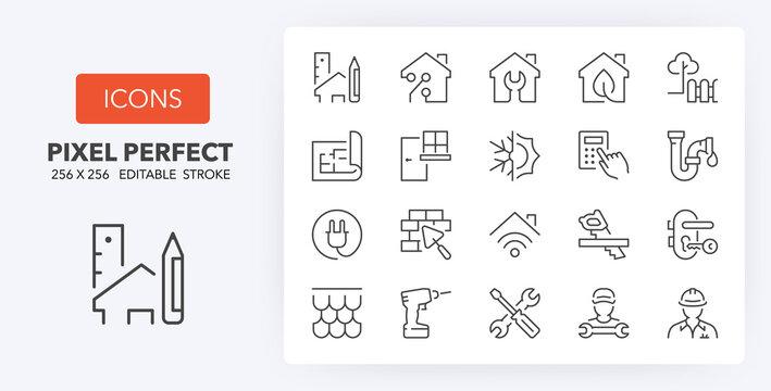 home renovation line icons 256 x 256