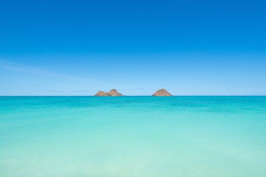 Twin islands at Lanikai beach Hawaii