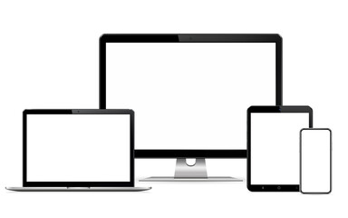 Responsive web design computer display with laptop and tablet pc with mobile phone