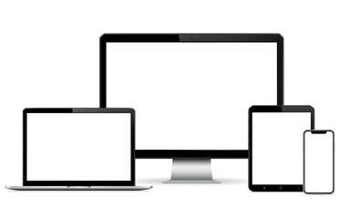 Computer display, laptop, tablet and mobile phone mockup