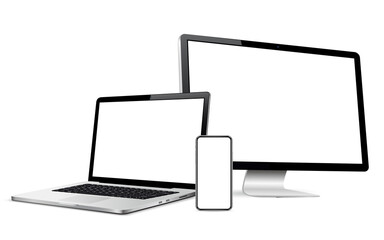 Responsive web design computer display, laptop, phone