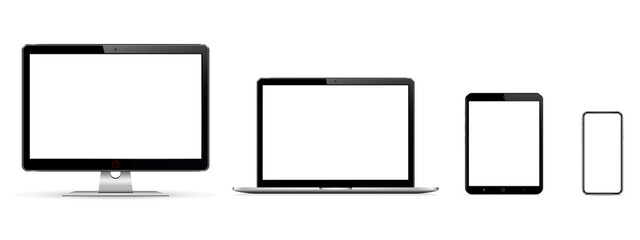 Set of blank screens with computer monitor, laptop, tablet, phone