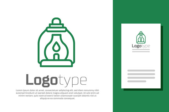 Green line Camping lantern icon isolated on white background. Logo design template element. Vector.