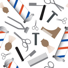 Seamless pattern with scissors, brush, razor and comb on a white background as a backdrop or wallpaper, flat vector stock illustration with hairdressing tools as a barbershop concept