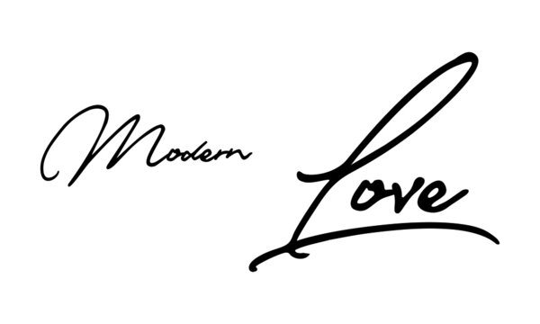 Modern Love Handwritten Font Typography Text Love Quote on White Background