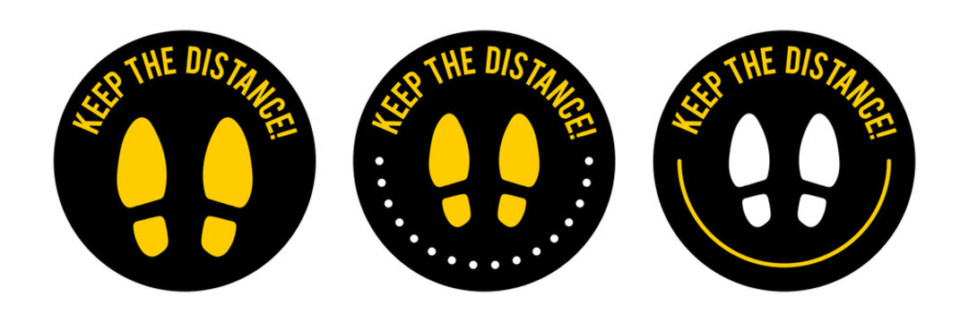 Keep Your Distance Round Floor Marking For Queue Shoe Prints Social Distancing Instruction Icon. Vector Image. Circle round footstep shoe COVID-19 sign.