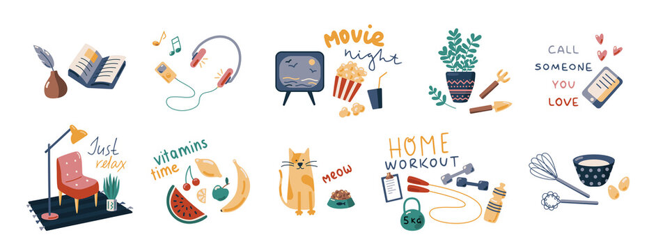 Things to do at home vector collection. Set of flat cartoon illustrations with slogans. Home activity. Flat vector cartoon illustration isolated on white background