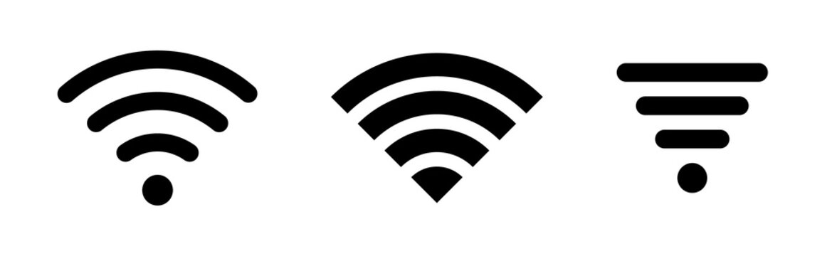 Wireless and wifi icon or wi-fi icon sign for remote internet access, internet connection, signal icon, variations podcast vector symbol, vector illustration
