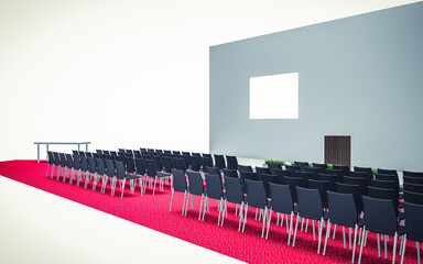 3d Illustration of Conference hall with chairs