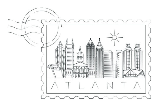 Atlanta stamp minimal linear vector illustration and typography design, Georgia, Usa
