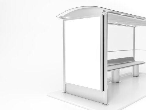 Modern bus stop with blank white poster. Close up, Mock up 3D Rendering. 3d illustration Bus stop with blank banners LED light isolated on white background.