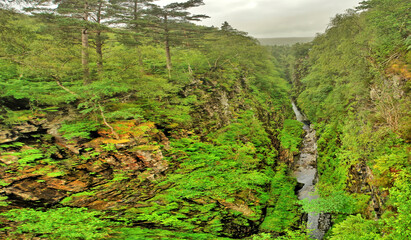 Corrieshalloch Gorge with Falls of Measach in the Scottish Highlands.