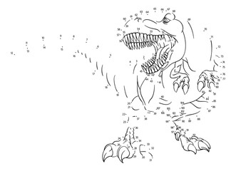 A connect or join dots to dot kids puzzle work sheet drawing of a T Rex Tyrannosaurus dinosaur