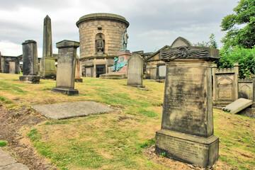 The Old Calton Burial Ground  -  graveyard in Edinburgh with David Hume Mausoleum, Scotland