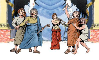 Ancient Greece - Greek actors with mask recite a drama accompanied by a flute player