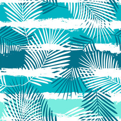 Foto op Plexiglas Kunstmatig Tropical pattern, summer palm leaves seamless vector floral background. Exotic plant on stripes. spring nature jungle print. Leaves of palm tree on paint lines.