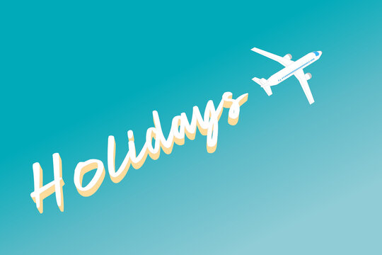 Holiday banner in the form of clouds left by a plane flying to Paradise