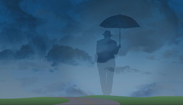 A ghostly silhouette of an older man in a fedora and suit with an umbrella is set against a stormy sky background. It is a metaphor for aging, lonliness, preparedness, isolation and more.