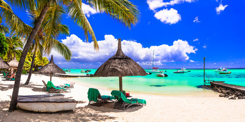 Tropical beach scenery . vacation in paradise island Mauritius