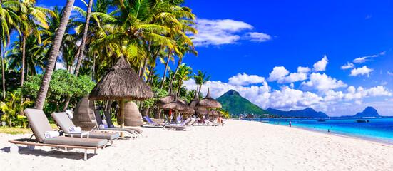 Tropical beach scenery . vacation in paradise island Mauritius, Flic en Flac beach