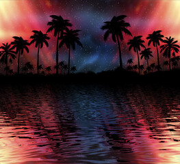 Poster Corail Abstract modern futuristic dark landscape with tropical palm trees, neon lights, rays. Reflection in the water, night view, abstract tropical background. 3d illustration